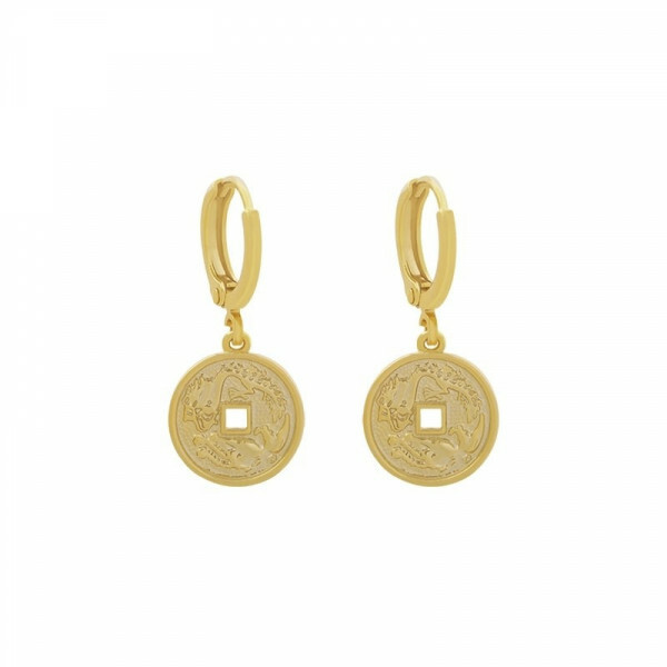 ENGRAVED COIN EARRINGS GOLD