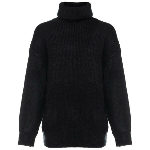 KNITTED COL SWEATER BLACK