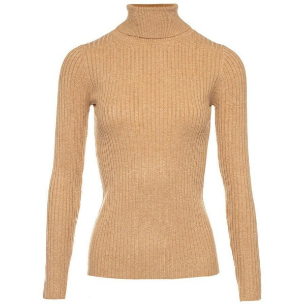 RIBBED COL SWEATER BEIGE