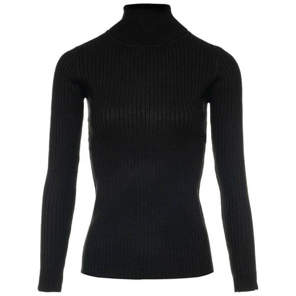 RIBBED COL SWEATER BLACK