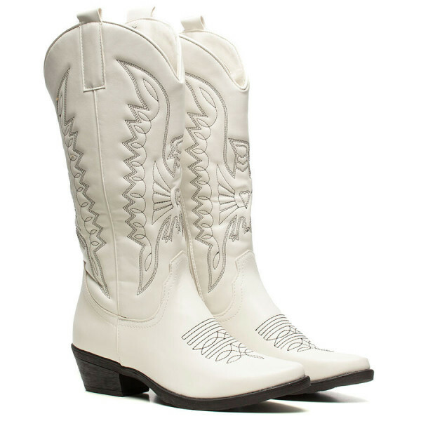 HIGH COWBOY BOOTS WHITE