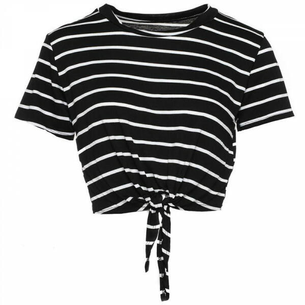 BLACK STRIPED KNOT TOP