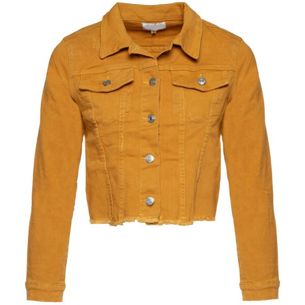 CROPPED DENIM JEACKET YELLOW
