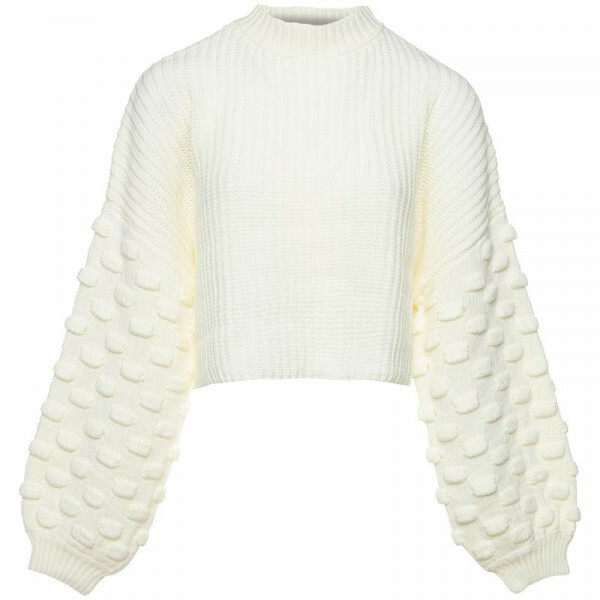 BUBBLE SLEEVE KNIT CREAM
