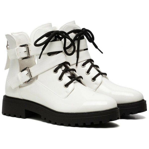 CUT LACE UP BOOTIES WHITE