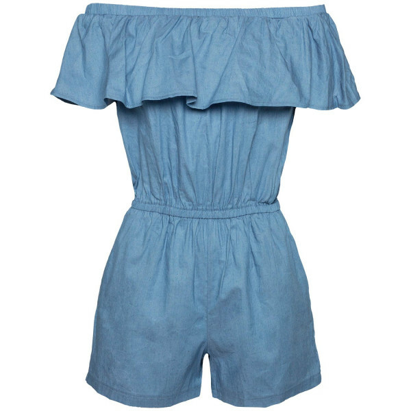 DENIM BARDOT PLAYSUIT
