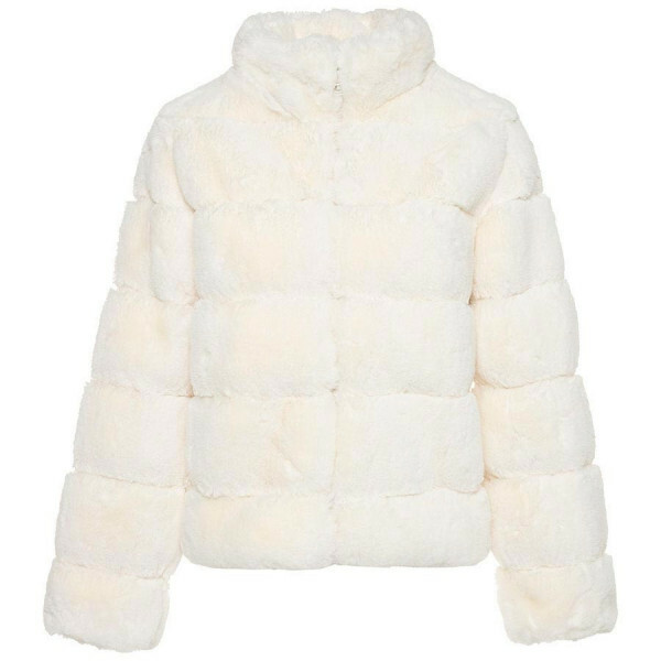 CROPPED FAKE FUR COAT BEIGE