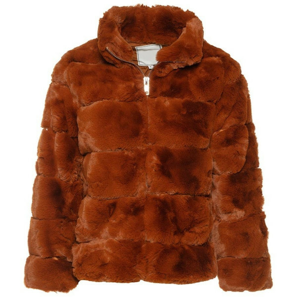 CROPPED FAKE FUR COAT BROWN