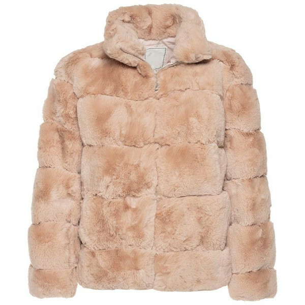 CROPPED FAKE FUR COAT PINK