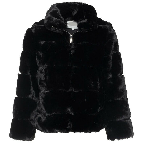 CROPPED FAKE FUR COAT BLACK