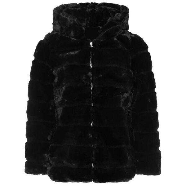 HOODED FURRY COAT BLACK