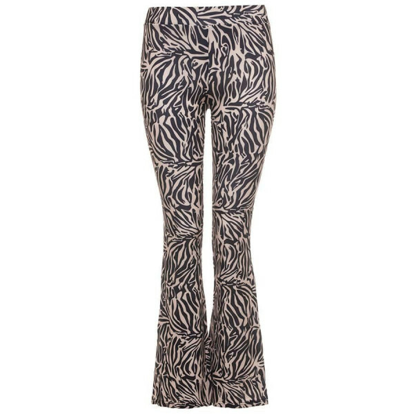 ZEBRA FLARED PANTS BEIGE