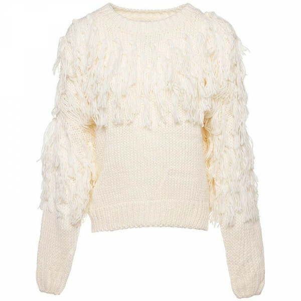 CHUNKY FRINGE KNIT CREAM