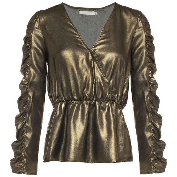 SATIN PEPLUM GLITTER TOP GOLD