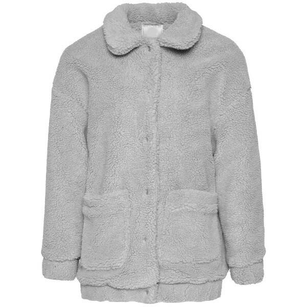 GREY TEDDY BOMBER JACKET