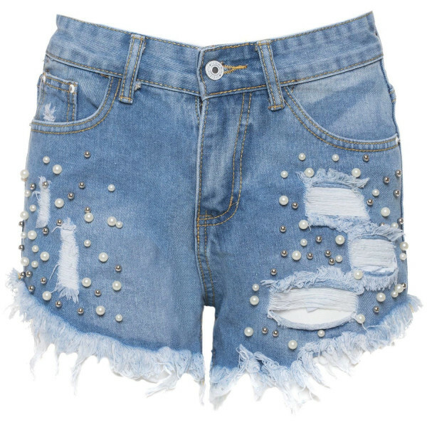 PEARLY DENIM SHORTS