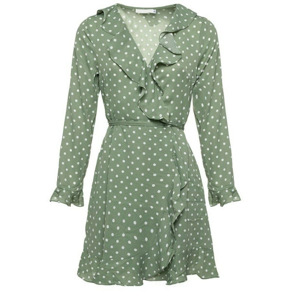 POLKADOT RUFFLE DRESS GREEN