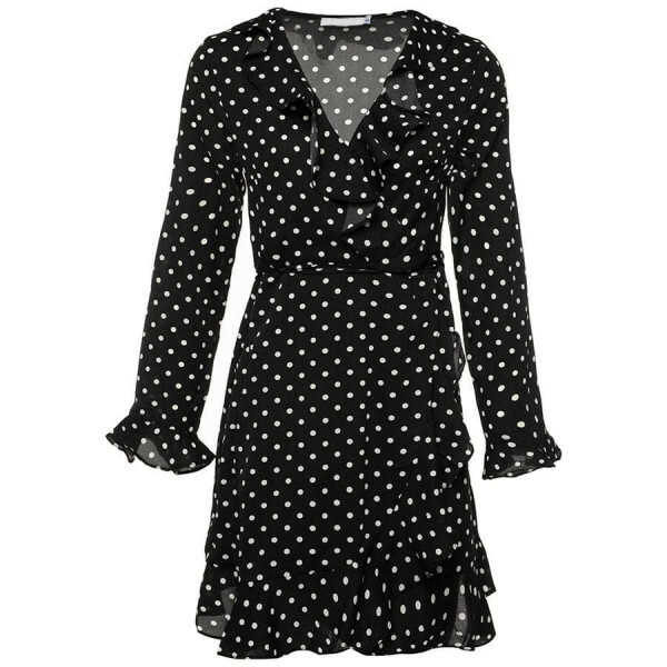 POLKADOT RUFFLE DRESS BLACK