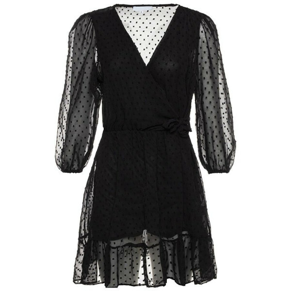 FLOWY DOT DRESS BLACK