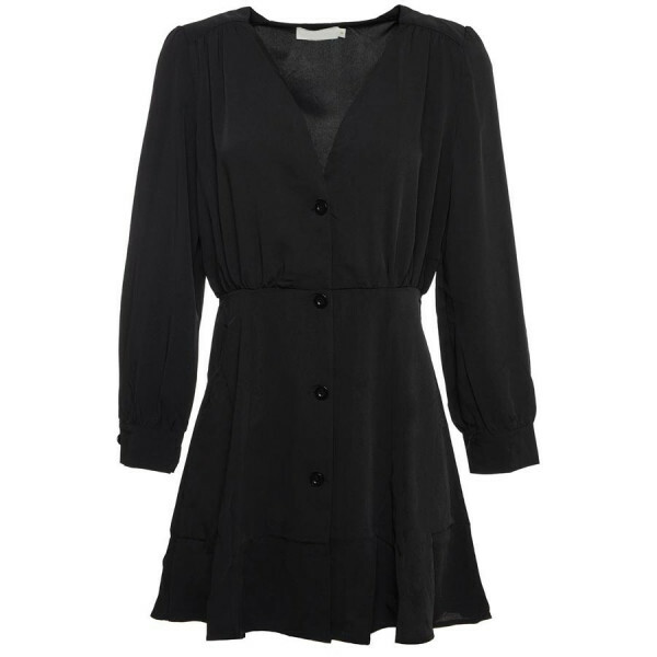 BUTTON DOWN DRESS BLACK