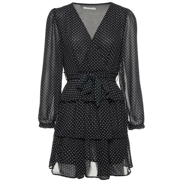 LAYERED DOT DRESS BLACK