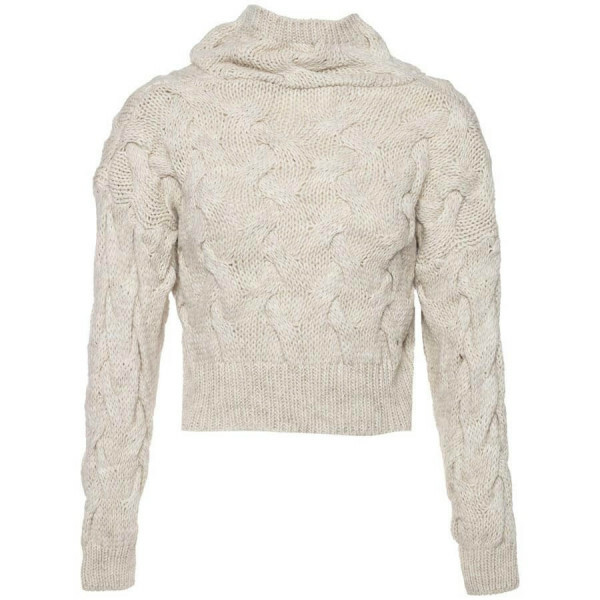 BEIGE KNITTED CROP SWEATER