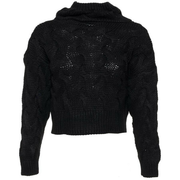 BLACK KNITTED CROP SWEATER