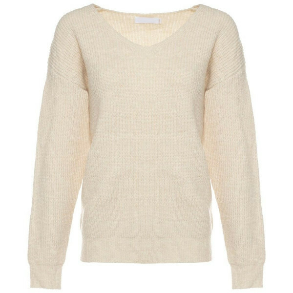 KNITTED V-NECK TOP BEIGE