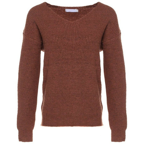 KNITTED V-NECK TOP BROWN