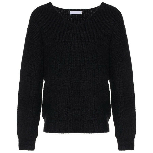 KNITTED V-NECK TOP BLACK