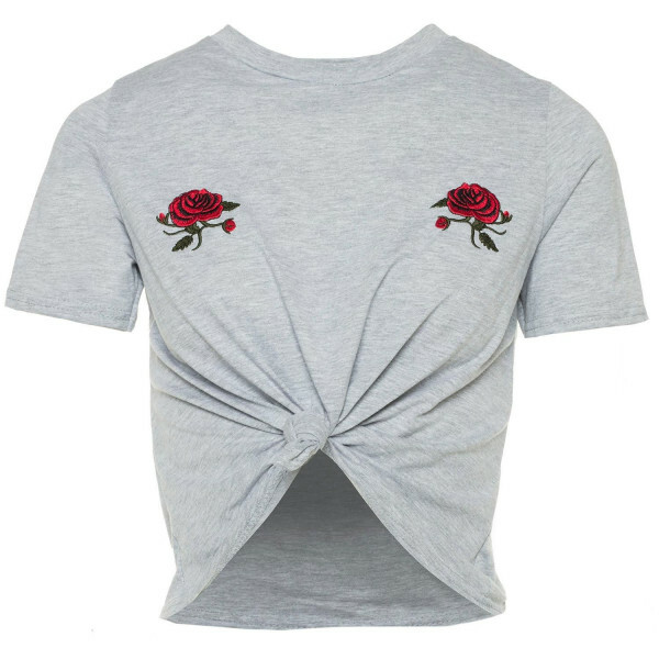 ROSES CROPPED TEE GREY