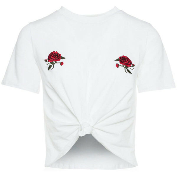 ROSES CROPPED TEE WHITE