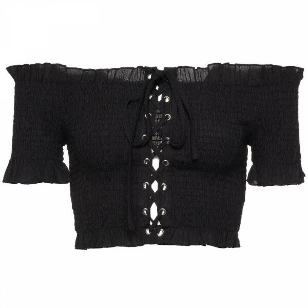 BLACK RUCHED BARDOT TOP