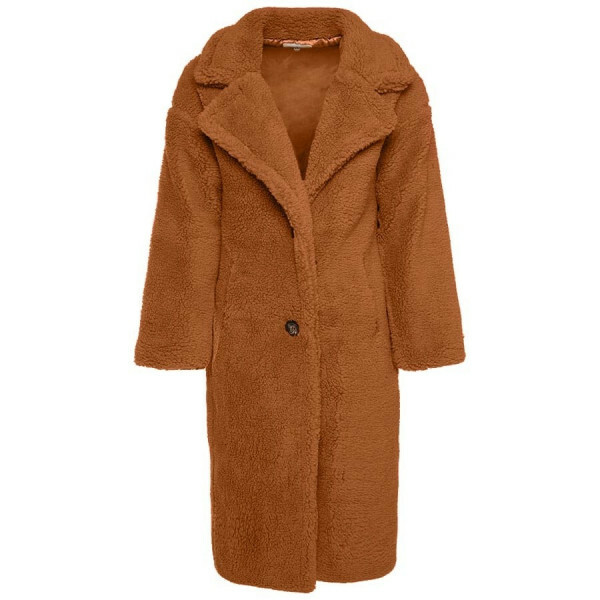 LONG COSY TEDDY COAT BROWN