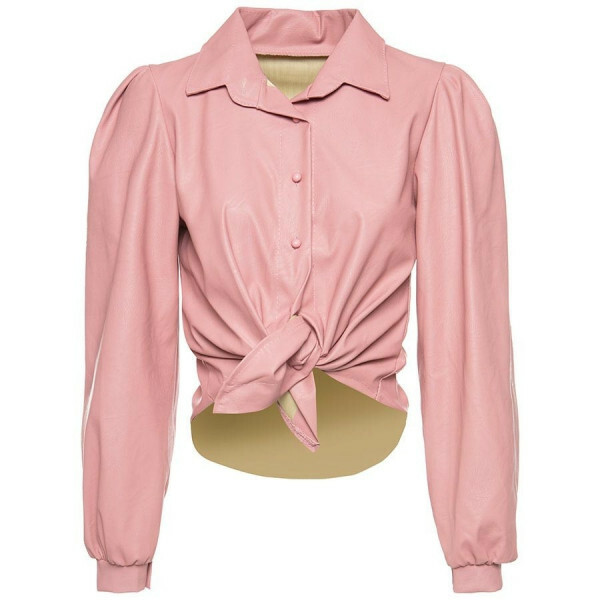 LEATHER BLOUSE PINK