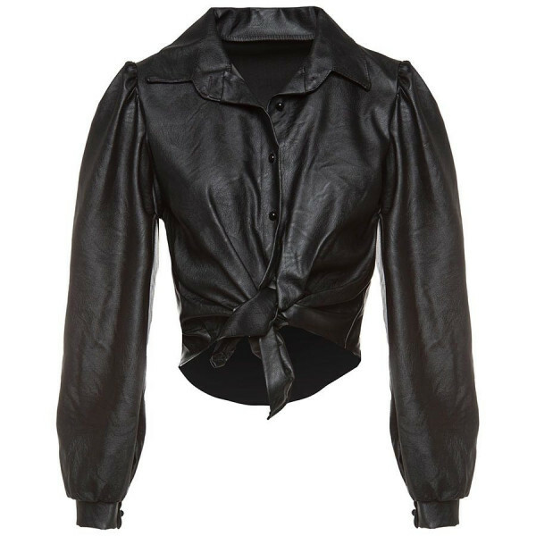 LEATHER BLOUSE BLACK
