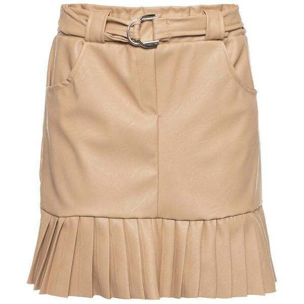 CUTE LEATHER SKIRT BEIGE