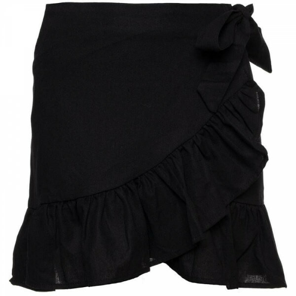 BLACK LINEN WRAP SKIRT