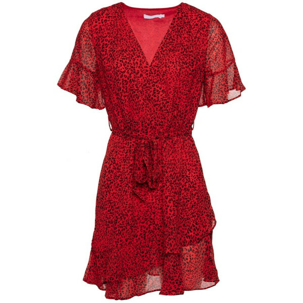 CHIFFON LEO DRESS RED
