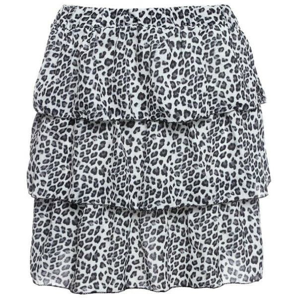 LAYERED LEOPARD SKIRT WHITE
