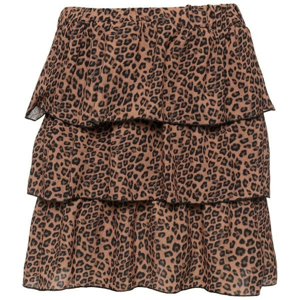 LAYERED LEOPARD SKIRT BROWN