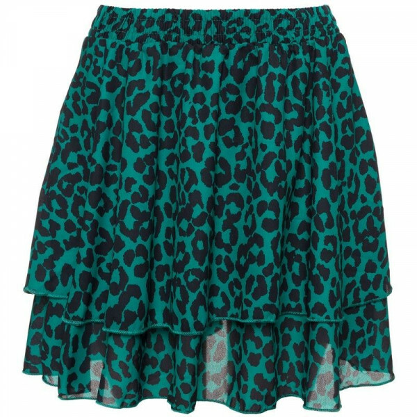 GREEN FLOUNCY LEOPARD SKIRT
