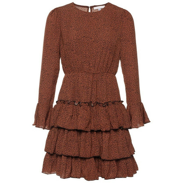 RUFFLE LEOPARD DRESS BROWN