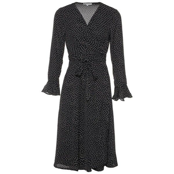 MIDI WRAP DRESS BLACK