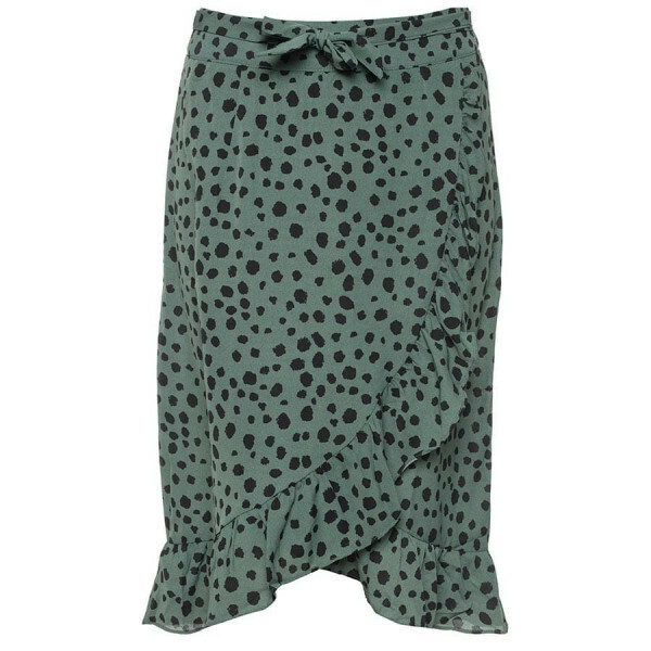 DOTTED MIDI WRAP SKIRT GREEN