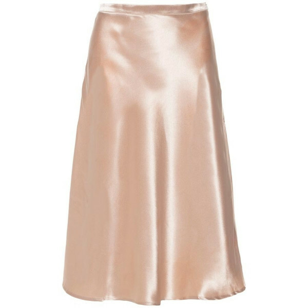 SATIN MIDI SKIRT BEIGE
