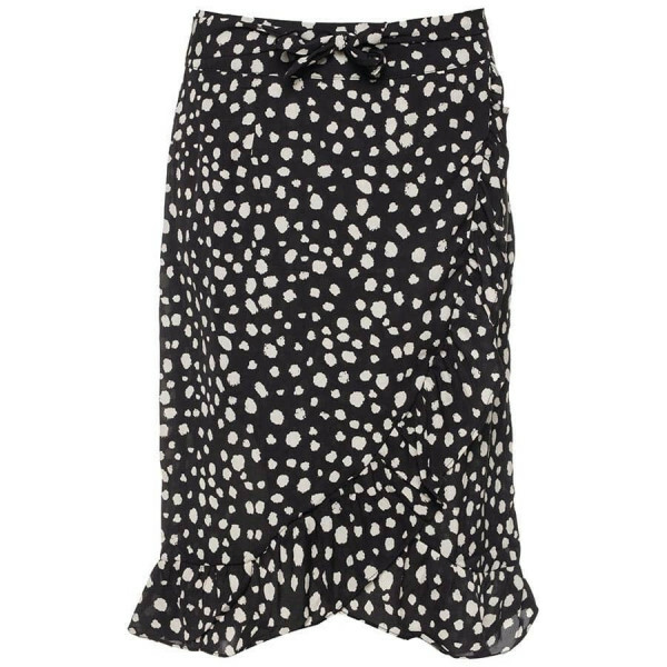 DOTTED MIDI WRAP SKIRT BLACK