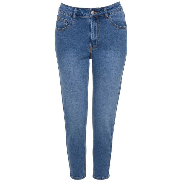 BLUE BASIC MOM JEANS