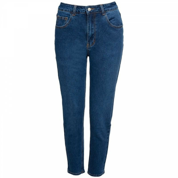 DARK BLUE BASIC MOM JEANS