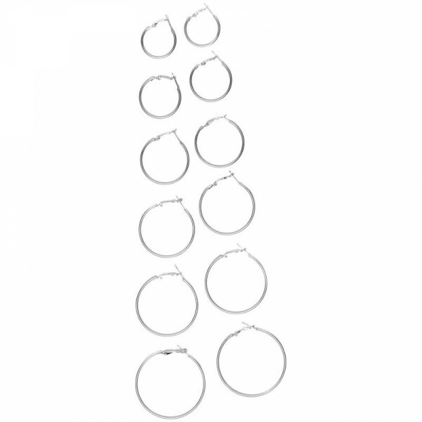EARRING HOOPS SET SILVER